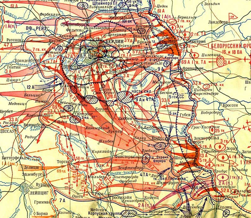 Карта - Берлинская операция (Битва за Берлин)