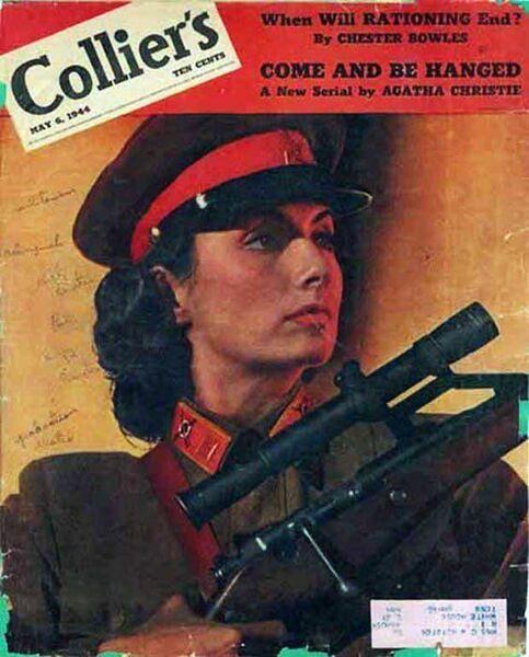 Образ Людмилы Павличенко на обложке одного из американских журналов