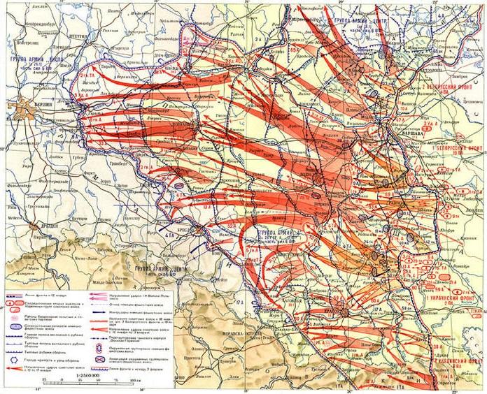 Карта Львовско-Сандомирской стратегической наступательной операции