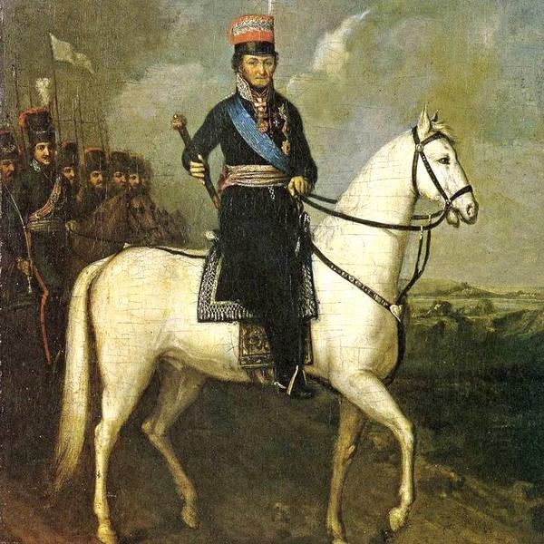 Неизвестный художник. Портрет М.И. Платова на коне (1810)