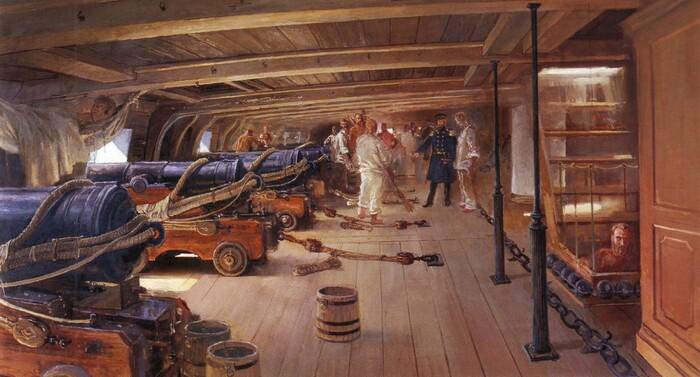 Внутри парусного корабля