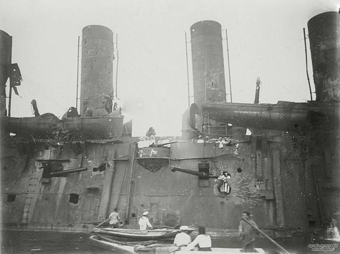 Повреждения броненосного крейсера «Россия» после боя в Корейском проливе, Владивосток, 16 (3 ст. ст.) августа 1904 года