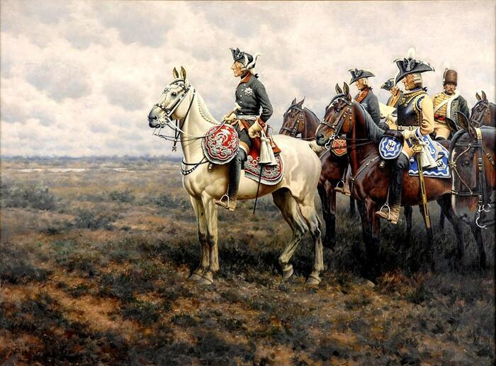 Фридрих II наблюдает за ходом боя