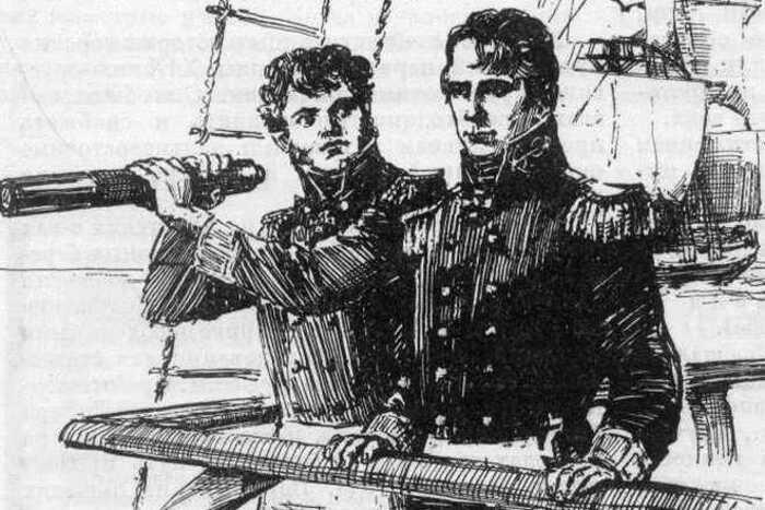 Крузенштерн и Лисянский на мостике