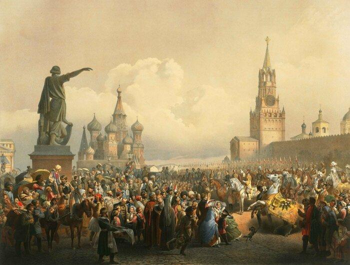 Объявление о дне коронации Александра II на Красной площади. Художник В.Ф. Тимм