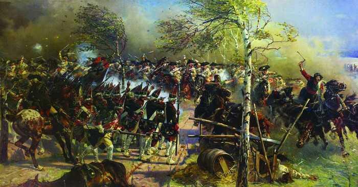 Русские гренадеры сдерживают напор кавалерии