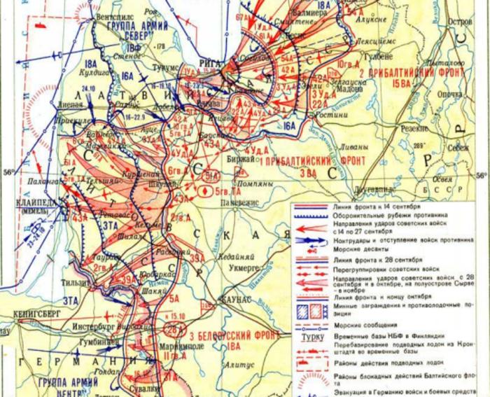 Карта Прибалтийской стратегической наступательной операции