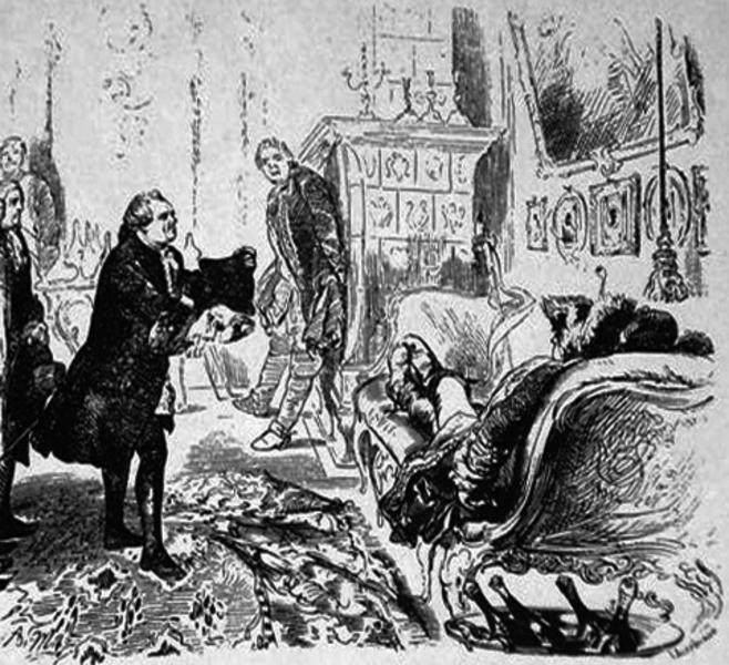 Купец Гоцковский просит лежащего на диване Тотлебена пощадить город