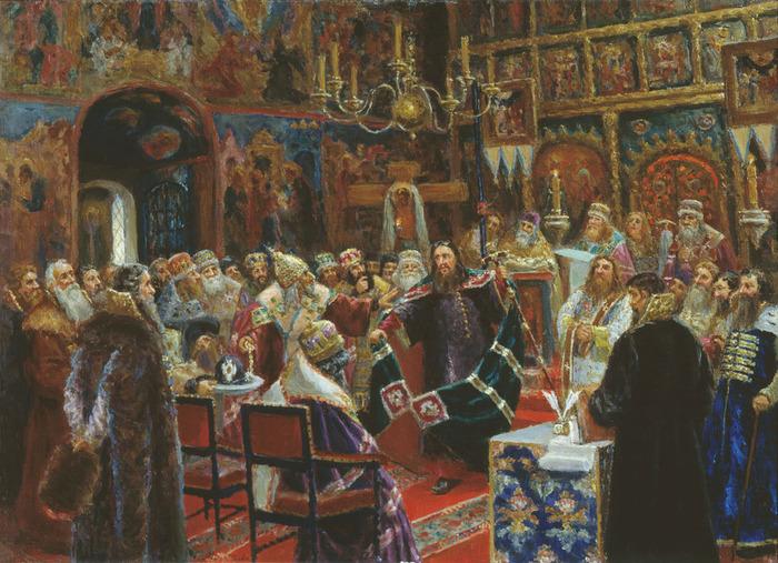 Суд над патриархом Никоном. Художник С.Д. Милорадович. 1885 год.