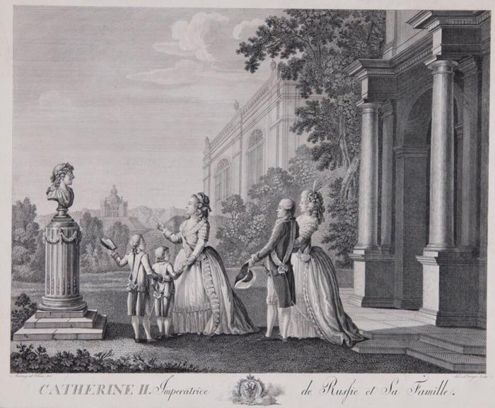 Екатерина II с внуками Александром и Константином и их родителями, Павлом Петровичем и Марией Федоровной.