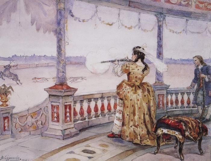 Анна Иоанновна в Петергофе стреляет оленей. Художник В.И. Суриков. 1900 год