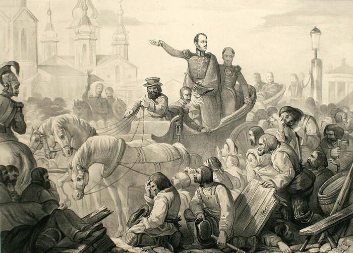 Николай I на Сенной площади во время холерного бунта. 1831 год